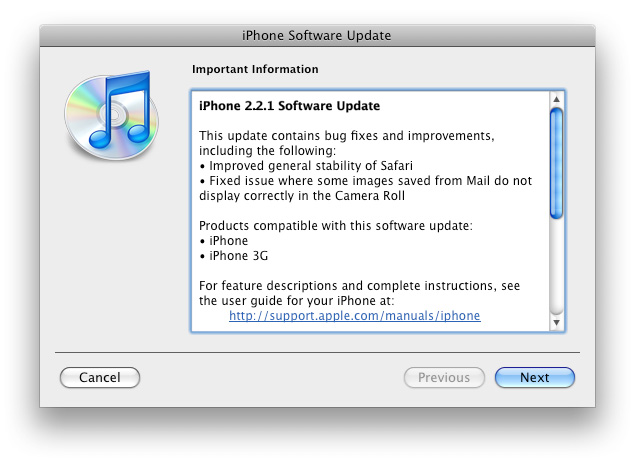 iPhone/iPod Touch Update 2.2.1 said to bring Safari Stability and more