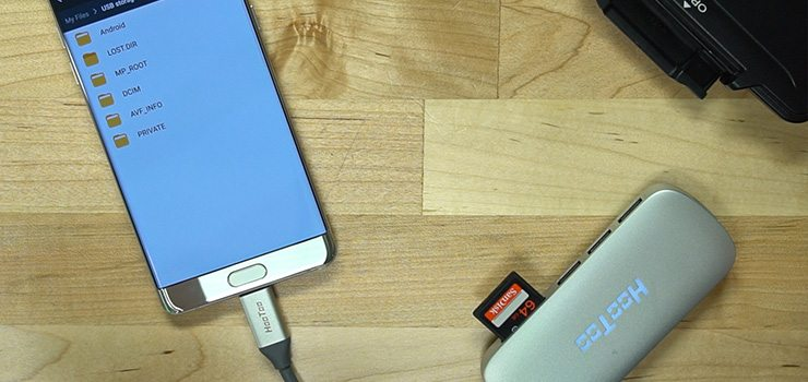 Connect a Galaxy Note 7 to a USB SD Card Reader